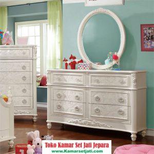 Meja Rias Kartini Rococo Putih Ukir