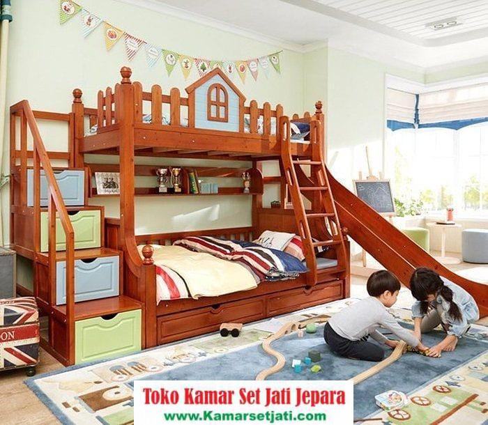 Tempat Tidur Anak Tingkat Perosotan Jati