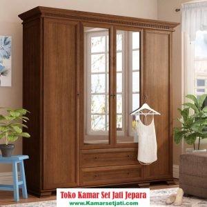 lemari pakaian kayu jati pintu kaca