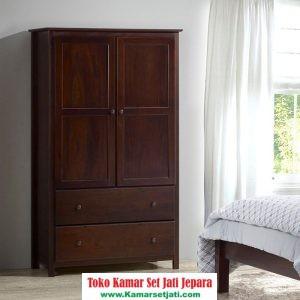 lemari pakaian minimalis modern kayu jati