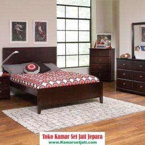 set kamar tidur minimalis sederhana kayu jati
