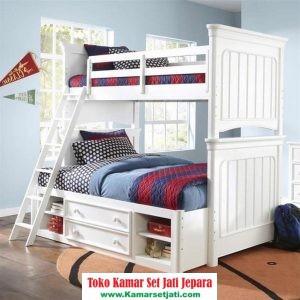 tempat tidur tingkat modern putih