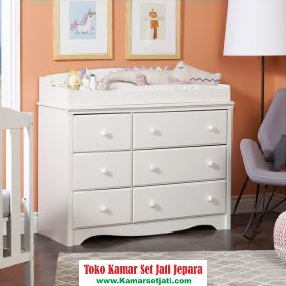 Baby Tafel Minimalis Duco Putih Laci